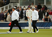 7th September 2017, Lords Cricket Ground, London, England; International Test Match Series, Third Test, Day 1; England versus West Indies; England Captain Joe Root chats to the umpires as the teams make their way back on to field after a rain shower stopped play