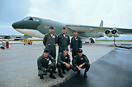 June 1972, Guam --- The Andersen Air Force Base on Guam Island from where the B-52 Stratofortress planes take off for Vietnam. A 6 member crew and their B-52 bomber before take off. --- Image by © JP Laffont