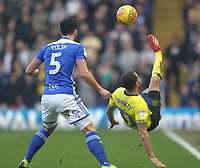 Blackburn Rovers Elliott Bennett in action with Birmingham City's Maxime Colin<br /> <br /> Photographer Mick Walker/CameraSport<br /> <br /> The EFL Sky Bet Championship - Birmingham City v Blackburn Rovers - Saturday 23rd February 2019 - St Andrew's - Birmingham<br /> <br /> World Copyright © 2019 CameraSport. All rights reserved. 43 Linden Ave. Countesthorpe. Leicester. England. LE8 5PG - Tel: +44 (0) 116 277 4147 - admin@camerasport.com - www.camerasport.com