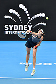 10th January 2018, Sydney Olympic Park Tennis Centre, Sydney, Australia; Sydney International Tennis, round 2; Gabrine Muguruza (ESP) serves in her match against Kiki Bertens (NED)