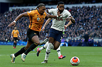 1st March 2020; Tottenham Hotspur Stadium, London, England; English Premier League Football, Tottenham Hotspur versus Wolverhampton Wanderers; Adama Traore of Wolverhampton Wanderers competes for the ball with Japhet Tanganga of Tottenham Hotspur