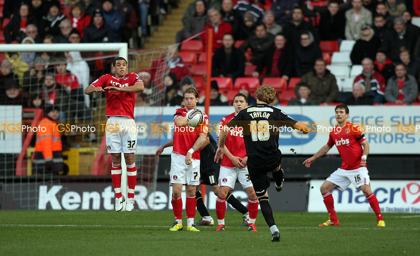 Chris Taylor of Oldham Athletic  free kick in the first half - Charlton Athletic vs Oldham Athletic - nPower League One Football at The Valley, London - 17/12/11 - MANDATORY CREDIT: Helen Watson/TGSPHOTO - Self billing applies where appropriate - 0845 094 6026 - contact@tgsphoto.co.uk - NO UNPAID USE.