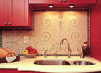 Custom Scrollwork marble mosaic backsplash in tumbled Giallo Reale, Salmon Moss, Spring Green, Rosa Verona, Breccia Pernice, Verde Alpi, Renaissance Bronze, Lapis