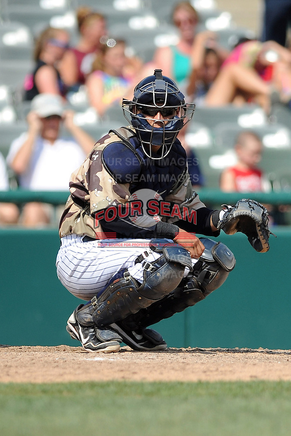Trenton Thunder catcher Jose Gil (51) during game against the Altoona Curve at Samuel L. Plumeri Sr. Field at Mercer County Waterfront Park on August 22, 2012 in Trenton, NJ.  Altoona defeated Trenton 14-2.  Tomasso DeRosa/Four Seam Images