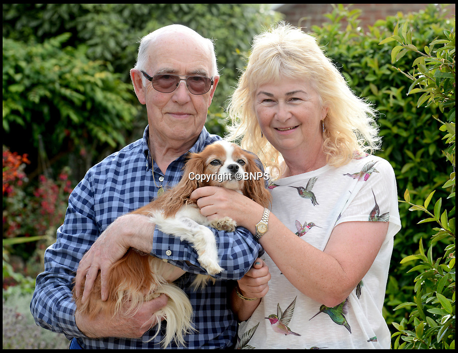 BNPS.co.uk (01202 558833)<br /> Pic:  RogerArbon/BNPS<br /> <br /> Theresa Buckingham with her father Peter Buckingham and Lucky the dog.<br /> <br /> A pet owner has been left with a vets bill of over £7,000 after her dog ate a discarded fishing hook which ripped through its stomach.<br /> <br /> The Cavalier King Charles spaniel, aptly named Lucky, scoffed the two inch long barb while out for a beach walk.<br /> <br /> Owner Theresa Buckingham spotted fishing line protruding from Lucky's mouth and quickly realised there was a hook on the other end that he had swallowed. <br /> <br /> The pet  began yelping out and writhing in agony as the metal object slipped down his throat and ripped into his oesophagus.