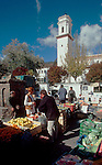 Spain, Las Alpujarras, Market day in the town square at Pitres, the Sierra Navada Mountains, Andalucia, Spain, Europe.