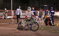 Bike problems for Justin Sedgmen in Heat 9 - Lakeside Hammers vs Swindon Robins, Elite League Speedway at the Arena Essex Raceway, Purfleet - 03/09/10 - MANDATORY CREDIT: Rob Newell/TGSPHOTO - Self billing applies where appropriate - 0845 094 6026 - contact@tgsphoto.co.uk - NO UNPAID USE.