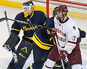 Collin Delia (Merrimack - 1), Johnathan Kovacevic (Merrimack - 8), David Cotton (BC - 17) - The visiting Merrimack College Warriors defeated the Boston College Eagles 6 - 3 (EN) on Friday, February 10, 2017, at Kelley Rink in Conte Forum in Chestnut Hill, Massachusetts.
