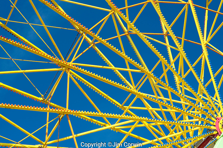 Evergrene State Fair close up of yellow ferris wheel spokes Monroe Washington State USA