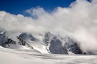 Glacier and mountain peaks in the Alps, Klein Matterhorn, Zermatt, Switzerland