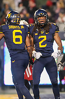 Morgantown, WV - November 20, 2016: West Virginia Mountaineers wide receiver Ka'Raun White (2) celebrates with West Virginia Mountaineers wide receiver Daikiel Shorts (6) after his touchdown during game between Oklahoma and WVU at  Mountaineer Field at Milan Puskar Stadium in Morgantown, WV.  (Photo by Elliott Brown/Media Images International)