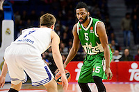 Real Madrid's player Luka Doncic and Unics Kazan's player Keith Langford during match of Turkish Airlines Euroleague at Barclaycard Center in Madrid. November 24, Spain. 2016. (ALTERPHOTOS/BorjaB.Hojas) //NORTEPHOTO