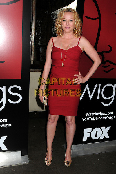 Virginia Madsen.WIGS Channel One Year Anniversary held at Akasha, Culver City, California, USA, 2nd May 2013..full length red dress clutch bag beige beaded hand on hip snakeskin snake shoes gold necklace .CAP/ADM/BP.©Byron Purvis/AdMedia/Capital Pictures