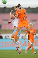 Keeley Dowling (17) of Sky Blue FC and Ella Masar (3) of the Chicago Red Stars go up for a header. The Chicago Red Stars defeated Sky Blue FC 2-1 during a Women's Professional Soccer (WPS) match at Yurcak Field in Piscataway, NJ, on August 01, 2010.