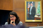 United States Representative Rashida Tlaib (Democrat of Michigan) questions Chair of the Federal Reserve Jerome Powell during his testimony before the House Financial Services Committee on Capitol Hill in Washington D.C., U.S. on July 10, 2019.<br /> <br /> Credit: Stefani Reynolds / CNP