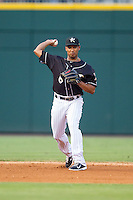 Charlotte Knights shortstop Marcus Semien (6) makes a throw to first base against the Scranton/Wilkes-Barre RailRiders at BB&T Ballpark on July 17, 2014 in Charlotte, North Carolina.  The Knights defeated the RailRiders 9-5.  (Brian Westerholt/Four Seam Images)