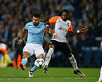 Sergio Aguero of Manchester City shoots under pressure from Fred of Shaktar Donetsk during the Champions League Group F match at the Emirates Stadium, Manchester. Picture date: September 26th 2017. Picture credit should read: Andrew Yates/Sportimage
