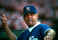Kansas City Royals Manager Bob Boone during a game at Anaheim Stadium in Anaheim, California during the 1997 season.(Larry Goren/Four Seam Images)