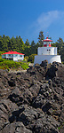 Vancouver Island, British Columbia:<br /> Amphitrite Lighthouse in clearing fog near Ucluelet on Vancouver Island's Pacific Rim.