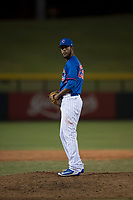 AZL Cubs relief pitcher Ivan Medina (63) prepares to deliver a pitch during an Arizona League game against the AZL Brewers at Sloan Park on June 29, 2018 in Mesa, Arizona. The AZL Cubs 1 defeated the AZL Brewers 7-1. (Zachary Lucy/Four Seam Images)