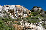 Colored mineral deposits of the Cascada Chica or the Small Waterfall mineral formation at Hierve el Agua, near Mitla, Mexico.
