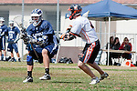 Beverly Hills, CA 04/12/10 - Joshua Belmont (Loyola # 22) and Ryan Lockhart (Beverly Hills # 4) in action during the Loyola-Beverly Hills Boys Varsity Lacrosse game at Beverly Hills High School, Loyola defeated Beverly Hills 16-0.