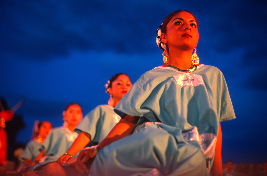 Representatives from area Indian communities perfrom in the Bani, a theatrical representation of the history of the local Guelaguetza festival in Oaxaca, Mexico.