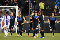 SAN JOSE, CA - JULY 16: Chris Wondolowski #8 of the San Jose Earthquakes celebrates scoring during a friendly match between the San Jose Earthquakes and Real Valladolid on July 16, 2019 at Avaya Stadium in San Jose, California.