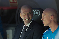 Real Madrid's coach Zinedine Zidane during La Liga match between Real Madrid and Villarreal CF at Santiago Bernabeu Stadium in Madrid, Spain. May 05, 2019. (ALTERPHOTOS/A. Perez Meca)<br /> Liga Campionato Spagna 2018/2019<br /> Foto Alterphotos / Insidefoto <br /> ITALY ONLY