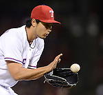 Yu Darvish (Rangers),.APRIL 30, 2013 - MLB :.Pitcher Yu Darvish of the Texas Rangers catches the ball during the baseball game against the Chicago White Sox at Rangers Ballpark in Arlington in Arlington, Texas, United States. (Photo by AFLO)