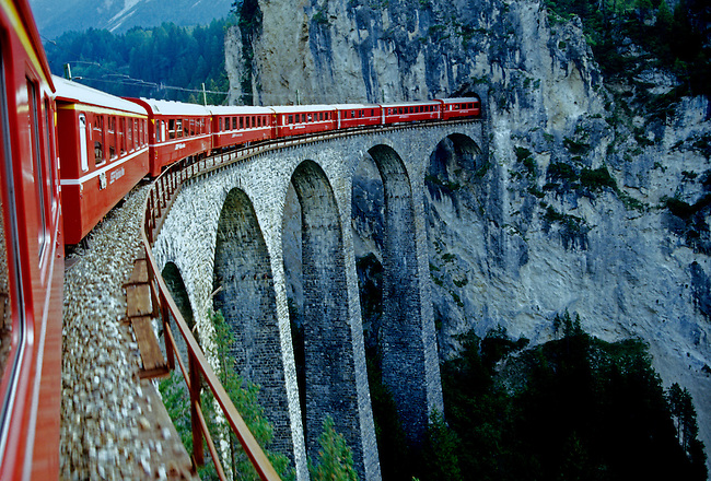 Glacier Express, train, Landwasser Viaduct, tunnel, village of Filisur, Graubunden Canton, Switzerland, Europe