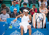 June 13th 2017, Nottingham, England; WTA Aegon Nottingham Open Tennis Tournament day 4; Heather Watson of Great Britain throws down her water bottle in frustration during her match against Alison Riske of USA