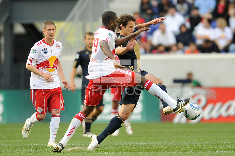 Stefani Miglioranzi (6) of the Philadelphia Union and Ibrahim Salou (29) of the New York Red Bulls go for the ball. The New York Red Bulls defeated the Philadelphia Union 2-1 during a Major League Soccer (MLS) match at Red Bull Arena in Harrison, NJ, on April 24, 2010.