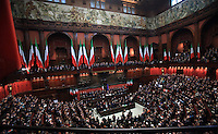 Una veduta dell'aula di Montecitorio durante la cerimonia del giuramento del rieletto Presidente della Repubblica Giorgio Napolitano davanti alle Camere riunite in seduta comune in occasione del rinnovo del suo mandato, a Roma, 22 aprile 2013..A view of the Lower Chamber during the re-elected Italian President Giorgio Napolitano's swearing-in ceremony, in Rome, 22 April 2013..UPDATE IMAGES PRESS/Isabella Bonotto