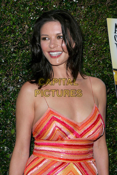 "CATHERINE ZETA-JONES .HBO's ""A Father...A Son...Once Upon a Time in Hollywood"" Los Angeles Premiere held at the Academy of Motion Picture Arts and Sciences, Beverly Hills, CA..July 14th, 2005.Photo credit: Jacqui Wong/AdMedia.half length orange red sequined dress stripes.www.capitalpictures.com.sales@capitalpictures.com.© Capital Pictures."