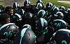 The Wyandanch varsity football team huddles together before a Division IV game against Center Moriches at Wyandanch High School on Thursday, Sept. 7, 2017.