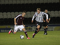 Jamie Walker being watched by Jordan Holt in the St Mirren v Heart of Midlothian Clydesdale Bank Scottish Premier League U20 match played at St Mirren Park, Paisley on 6.11.12.