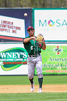 Great Lakes Loons shortstop Brandon Montgomery (6) throws to first base during a Midwest League game against the Wisconsin Timber Rattlers on May 12, 2018 at Fox Cities Stadium in Appleton, Wisconsin. Wisconsin defeated Great Lakes 3-1. (Brad Krause/Four Seam Images)