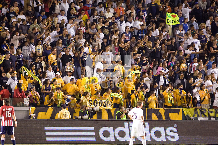 LA Galaxy fans. Chivas USA and the LA Galaxy played to a  1-1 draw at Home Depot Center stadium, in Carson, California on Thursday, July 10, 2008.