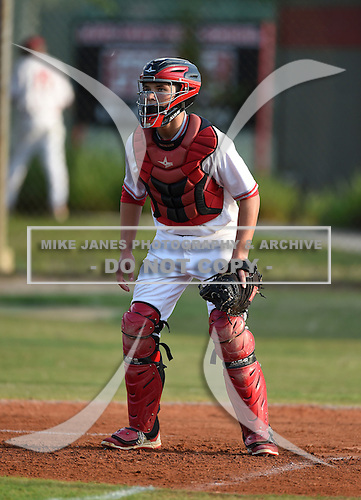 Lake Mary Rams catcher Frank Nieman (8) during practice before a game against the Lake Brantley Patriots on April 2, 2015 at Allen Tuttle Field in Lake Mary, Florida.  Lake Brantley defeated Lake Mary 10-5.  (Mike Janes Photography)
