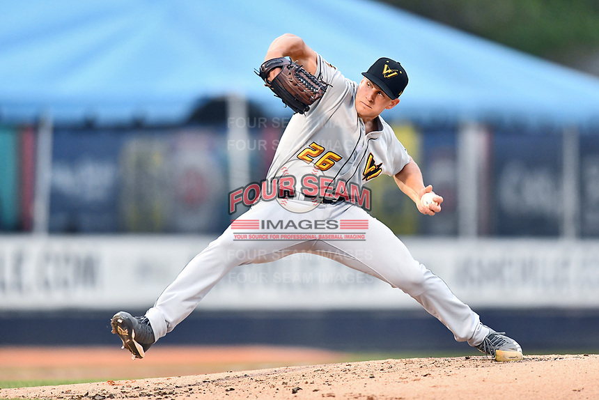 West Virginia Power starting pitcher Oliver Jaskie (26) delivers a pitch during a game against the Asheville Tourists at McCormick Field on April 18, 2019 in Asheville, North Carolina. The Power defeated the Tourists 12-7. (Tony Farlow/Four Seam Images)