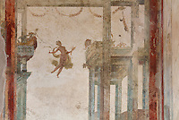 Fresco detail of a garlanded architectural framework from the court of Bacchus, and a floating figure with scythe and corn, representing the autumn harvest, in the Triclinium, probably used for lunches, a large room open to the garden, with walls painted on a white background with figures and plants and ornamental borders and floating figures of the seasons, in the Casa dell Efebo, or House of the Ephebus, Pompeii, Italy. This room is decorated in the Fourth Style of Roman wall painting, 60-79 AD, a complex narrative style. This is a large, sumptuously decorated house probably owned by a rich family, and named after the statue of the Ephebus found here. Pompeii is a Roman town which was destroyed and buried under 4-6 m of volcanic ash in the eruption of Mount Vesuvius in 79 AD. Buildings and artefacts were preserved in the ash and have been excavated and restored. Pompeii is listed as a UNESCO World Heritage Site. Picture by Manuel Cohen