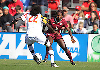 COLLEGE PARK, MD - OCTOBER 21, 2012:  Shade Pratt (22) of the University of Maryland moves in on Jessica Price (6) of Florida State during an ACC women's match at Ludwig Field in College Park, MD. on October 21. Florida won 1-0.