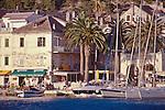 Croatia, Hvar, Hvar Island, Dalmatian Islands, historic Venetian harbor, architecture, yachts, sailboats, Dalmatian coast, Adriatic Sea, Europe,.