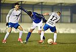 2018-03-03 / Voetbal / Seizoen 2017-2018 / Nijlen - Kampenhout / Willem Brouwers (Nijlen) in duel met Glenn Leemans (r.)<br /> <br /> ,Foto: Mpics.be