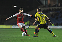 Fleetwood Town's Conor McAleny under pressure from Oxford United's Cameron Brannagan<br /> <br /> Photographer Kevin Barnes/CameraSport<br /> <br /> The EFL Sky Bet League One - Oxford United v Fleetwood Town - Tuesday 10th April 2018 - Kassam Stadium - Oxford<br /> <br /> World Copyright &copy; 2018 CameraSport. All rights reserved. 43 Linden Ave. Countesthorpe. Leicester. England. LE8 5PG - Tel: +44 (0) 116 277 4147 - admin@camerasport.com - www.camerasport.com