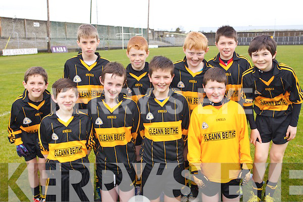 Taking part in Cumann na mBunscol boys county final in the Austin Stacks Park, Tralee, on Thursday were pupils from Glenbeigh National School, pictured front l-r: Patrick Griffin, Dara CAsey, Sean Coffey and Liam Smith, . .Back l-r: Rian O'Donovan, Daniel McGillycuddy, Sean Sheahan, Paraic McMahon, Ethan Garcia and Geaoid Griffin.
