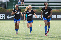 Boston, MA - Saturday April 29, 2017: Margaret Purce, Brooke Elby and Ifeoma Onumonu during warmups before a regular season National Women's Soccer League (NWSL) match between the Boston Breakers and Seattle Reign FC at Jordan Field.