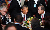 New York, NY - September 23, 2009 -- United States President Barack Obama, center, attends a luncheon during the United Nations General Assembly at UN Headquarters in New York, NY, Wednesday, September 23, 2009.  At left is President Lech Kaczynski of Poland and at right is U.N. Secretary General Ban Ki-moon.Credit: Olivier Douliery - Pool via CNP