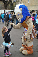 Bath Rugby mascot Maximus high-fives a young supporter prior to the match. Aviva Premiership match, between Bath Rugby and Worcester Warriors on December 27, 2015 at the Recreation Ground in Bath, England. Photo by: Patrick Khachfe / Onside Images